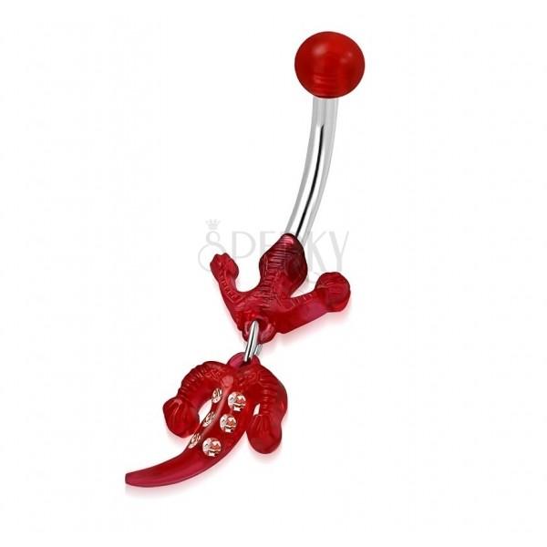 Piercing do pupíku z oceli - kulička, červená ještěrka se zirkony