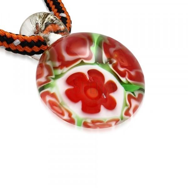 Trojbarevný šňůrkový náhrdelník - kulatý přívěsek ze skla, květy