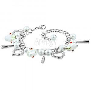 Náramek stříbrné barvy - kontury srdcí, srdíčka s květy, syntetické perličky