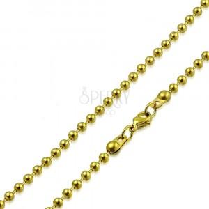Řetízek zlaté barvy z oceli - kuličky oddělené krátkými tyčinkami, 2 mm