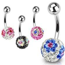 Piercing do pupíku - kulička s krystaly Swarovski
