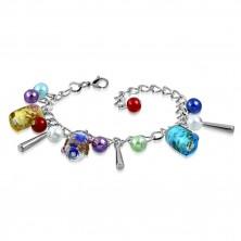 Řetízkový náramek a přívěsky - umělé perličky, barevné korálky s růžičkami