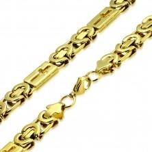 Lesklý řetízek zlaté barvy z oceli - byzantský vzor, latinské kříže