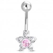 Ocelový piercing do bříška - kulička, růžovo-čirý zirkonový květ