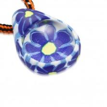 Šňůrkový náhrdelník - FIMO slza s modrými kvítky, skleněná kulička