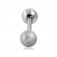 Ocelový piercing do tragu ucha - hladká a pískovaná kulička stříbrné barvy, 16 mm