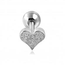 Piercing do ucha z oceli - pískované srdíčko a kulička stříbrné barvy