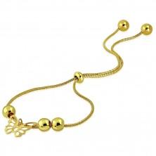 Náramek zlaté barvy z oceli - vyřezávaný motýlek, kuličky, vzor hadí kůže
