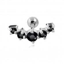 Piercing do tragu z chirurgické oceli - oblouk s pěti černými zirkony