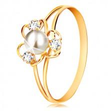 Prsten v 9K žlutém zlatě - květ se třemi okvětními lístky, bílou perlou a čirými zirkony