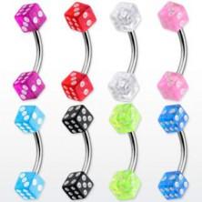 Piercing do obočí - barevné hrací kostky