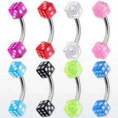 Piercing do obočí - barevné hrací kostky N29.1