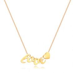 Náhrdelník ze žlutého zlata 375 - tenký řetízek, písmenka l, o, v, e, srdíčko