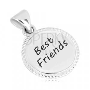 """Stříbrný 925 přívěsek - kroužek s vroubkovaným okrajem, nápis """"Best Friends"""""""
