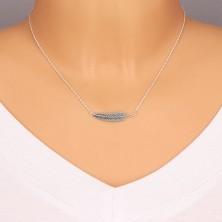 Stříbrný náhrdelník 925 - spirálovitý řetízek a patinované pírko