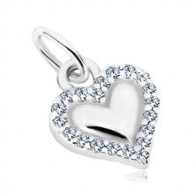 Přívěsek, stříbro 925 - lesklé srdce, obrys z transparentních zirkonů