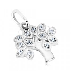 Stříbrný 925 přívěsek - strom života, lístečky s čirými kulatými zirkony