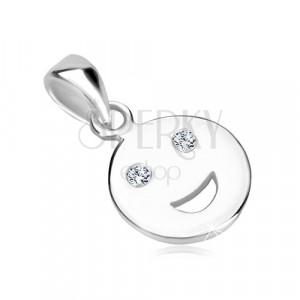 Stříbrný 925 přívěsek - lesklý smajlík s blýskavými zirkonovými očky