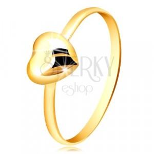 Prsten ze žlutého zlata 375 - úzký kroužek a pravidelné zrcadlově lesklé srdíčko