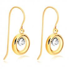 Náušnice v 9K zlatě - prstenec ze žlutého zlata, objímka v bílém zlatě a zirkon