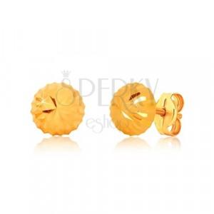 Náušnice ve žlutém zlatě 375, motiv květu - blýskavá hlávka se zářezy, puzetky