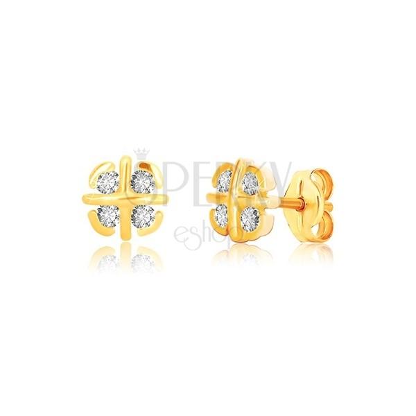 Náušnice z 9K žlutého zlata - květ s překříženými liniemi a obloučky, zirkony