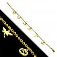 Ocelový náramek ve zlatém barevném odstínu - vážky a vyřezávané dýně