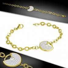 Náramek zlaté barvy z oceli - ozdobný kruh s výřezem, čiré třpytivé zirkony