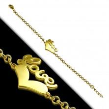 """Ocelový náramek zlaté barvy - souměrné srdce a nápis """"Love"""", řetízek z kulatých oček"""