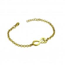 Náramek z oceli ve zlatém barevném odstínu - symbol nekonečna se srdíčkem