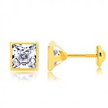 Náušnice ve žlutém zlatě 585 - třpytivý zirkonový čtverec v lesklé objímce, 6 mm