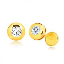 Náušnice ze žlutého 14K zlata - zrcadlově lesklý kruh s čirým kulatým zirkonem