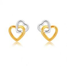 Náušnice z kombinovaného 9K zlata - propojené kontury srdcí, puzetky