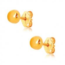 Náušnice z 9K žlutého zlata - kroužek se zrcadlově lesklým povrchem, puzetky