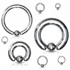 Piercing z oceli 316L - jednoduchý kroužek s kuličkou, stříbrná barva, tloušťka 6 mm