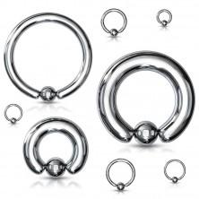 Piercing z oceli 316L - jednoduchý kroužek s kuličkou, stříbrná barva, tloušťka 4 mm