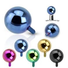 Kulička do implantátu z oceli 316L - anodizovaný povrch, různé barvy, 5 mm
