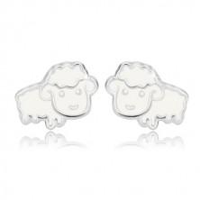 Puzetové náušnice se zvířecím motivem - bílá ovečka s glazurou, stříbro 925