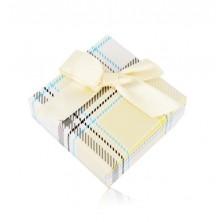 Dárková krabička na prsten nebo náušnice - žlutý károvaný vzor, mašle