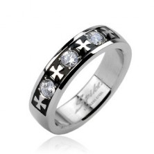 Ocelový prsten - tři zirkony a kříže