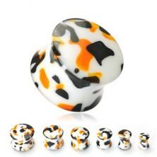 Plug do ucha bílý s černými a oranžovými skvrnami