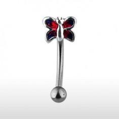 Piercing do obočí - červený motýlek N29.27