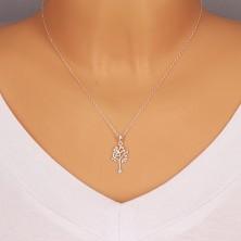 Přívěsek - strom života, úzký kmen s rozvětvenou korunou, stříbro 925