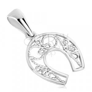 Stříbrný přívěsek 925 - podkova pro štěstí, tenké lanko, symetrický motiv