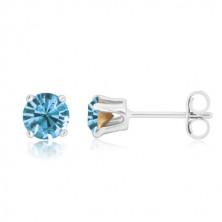 Puzetové náušnice - zářivý zirkon v kotlíku, nebeská modrá, stříbro 925