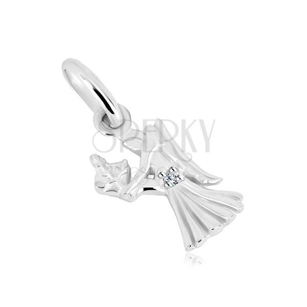 Přívěsek ze stříbra 925 - děvče s křídly a klásky pšenice, znamení PANNA