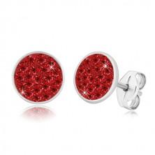 Stříbrné 925 náušnice - třpytivý kruh vykládaný červenými zirkony