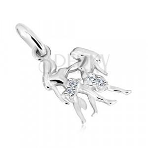Přívěsek ze stříbra 925 - dlouhovlasá dvojčata se zirkonky, znamení BLÍŽENCI