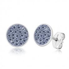 Náušnice ze stříbra 925 - zářivý kruh vykládaný bledě modrými zirkony