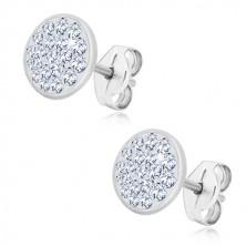 Stříbrné 925 náušnice - třpytivý kruh vykládaný transparentními zirkony